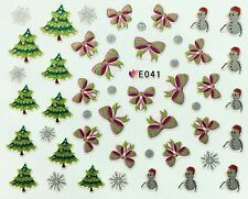 Nail Art 3D Decal Stickers Christmas Tree Bows Snowman Snowflakes E041