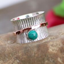 Turquoise 925 Sterling Silver Band&Spinner Ring Meditation Handmade Size-13-D280