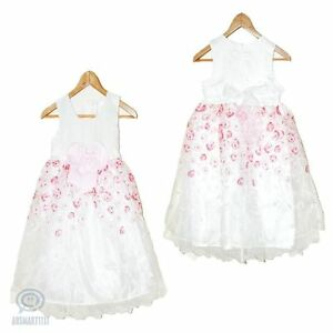 Flower Girl Wedding Dress Birthday Party Formal Gown Rose Petal Tulle Sz 5 - 13