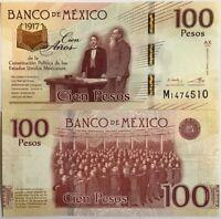 MEXICO 100 PESOS 1917-2016 / 2017 P 130 NEW DESIGN 100TH COMM. UNC
