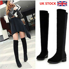 UK Womens Ladies Elastic Suede Shoes Over Knee Thigh High Stretch Flat Boot Size