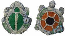 Moonrays Frog & Turtle Glitter Garden Stone Landscape Stepping Rocks - 4 Pack