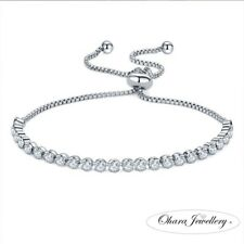 Cubic Zirconia Adjustable Silver Tennis Bridal CZ Crystal Bracelet Jewellery Uk