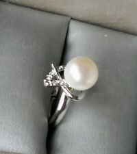 Adjustable Button Shape Real Freshwater Pearl Sterling Silver Plated Ring