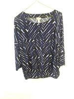 Chicos Travelers Black Purple Geometric Print Shirt 3/4 Sleeve Size 1 Scoop Neck