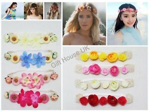 Latest Rose Flower Laced Elastic Headbands Retro Head Scarf Twisted HairBand