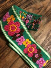 Vtg 1960s Retro Mod Funky Trim Fabric Trimming Bindings Sewing Material Flower