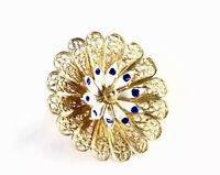 Vintage Silver Gilded Gold ENAMEL Circular Filigree FLOWER BROOCH Gift Boxed