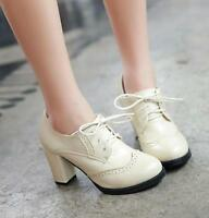Fashion women's wing tips oxfords block heels chunky lace up ankle boots shoes
