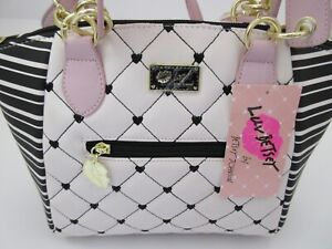 Luv Betsey By Betsey Johnson White Quilted With Black & White Stripe Satchel