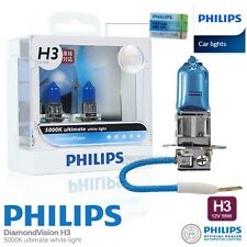 Pair Genuine PHILIPS H3 Diamond Vision Halogen Bulb 5000K 12V 55W Car Bulb Light