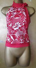 S.14 white w' red flower waist length jersey top, bright Hawaiin design.Tie neck