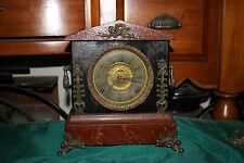 Antique Victorian Mantel Mantle Clock-Tassels-Wood Mantel Shelf Clock-Gilded