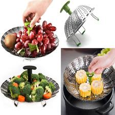 Kitchen Steamer Basket Dish Steam Stainless Steel Food Folding Vegetable Cooker