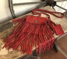 RALPH LAUREN COLLECTION Red Fringed Leather Statement Bag!