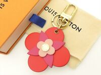 Louis Vuitton Authentic Metal Leather totem flower Key Chain Bag Charm Auth LV