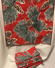 Vintage Set/4 Linen Napkins Christmas Cabin Holiday Pine tree pinecones Red