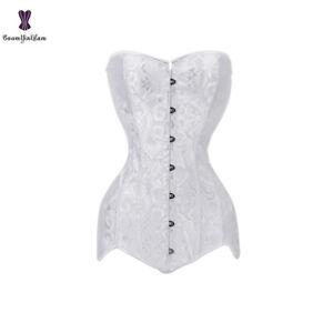 Women Gothic Long Torso Overbust Corset Steel Boned White Lace up Waist Bustier