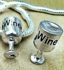 2PC LOT Antique Silver 3D Glass of WINE European Bead Charms fit Bracelet