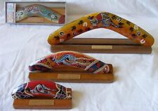 "Boxed Boomerang - Aboriginal Art Modern Hand-Painted 6"" with Display Stand"