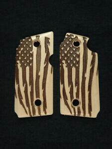 American Flag Maple Grips For Sig Sauer P238 Checkered Engraved Textured