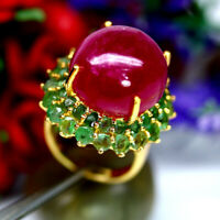 NATURAL 17mm. CABOCHON RED RUBY & GREEN EMERALD RING 925 STERLING SILVER SZ 6.25