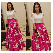 Indian Stylish Designer Bollywood Party Pink Lehenga Choli Crop TopAnarkali Suit