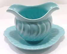 1950's Franciscan Ware Satin Gravy Boat With Attached Plate - USA