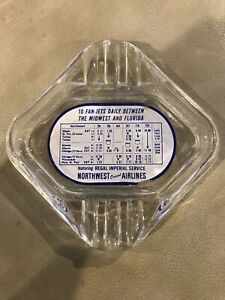 Vintage Glass Northwest Orient Airlines Ashtray