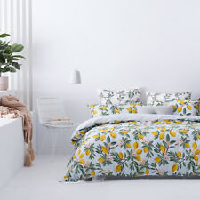 NEW 5pc HOME REPUBLIC KING BED QUILT COVER + PILLOWCASES & 2 EUROS SET LEMON