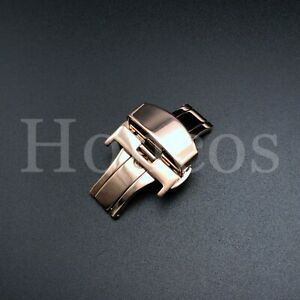 US Stainless Steel Watch Butterfly Clasp Deployment Push Button Buckle 16-24mm