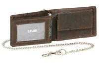 Minibörse mit Klappe und Kette im Querformat LEAS MCL in Echt-Leder, dunkelbraun