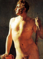 "Oil painting gay - Jean Auguste Dominique Ingres - a Male Nude canvas 24""x36"""
