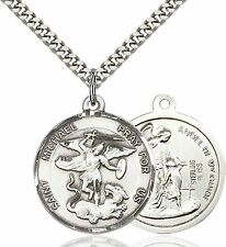Mens Sterling Silver Saint Michael the Archangel Medal Pendant With 24'' Chain