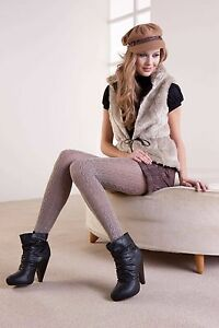 Mura Collant Brown Pantyhose Knots Design Cotton Tights Stocking C2700 - Italy