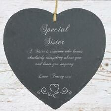 Personalised Sister Gift Slate Plaque Heart Symbol SLA210-8