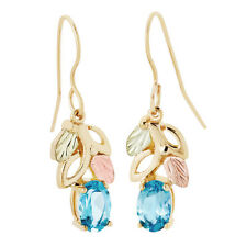 Landstrom's Black Hills Gold 10K Blue Topaz Dangle Hook Earrings GLER1970-404