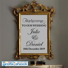 Custom Wedding Welcome Sign Decal Wedding Decor Mirror Sticker BLACK COLOUR
