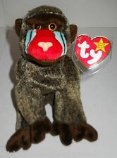 """TY BEANIE BABY 8"""" PLUSH BABOON W/TAG ERRORS, 1999, HTF & ADORABLE, NEW W/TAGS!"""