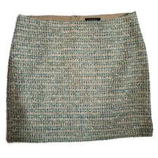 Ann Taylor Mini Skirt Sz 10 Blue Gold Metallic Straight Pencil Lined Textured