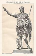 B0358 Arte romana - Augustus - Stampa d'epoca - 1903 Vintage print