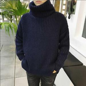 Mens Thicken Loose Cashmere Tops High Neck Knitted Sweaters Pullover Winter V168