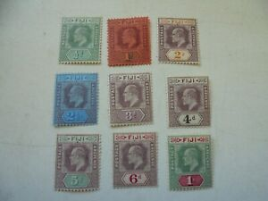 9 stamps from Fiji KEVII 1/2d to 1/- all mounted Mint