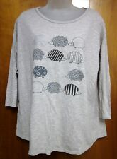 Old World Porcupine Prints women's Xl striped quills tee Hedgehog longsleeves