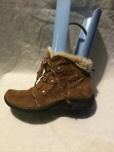 Earth Spirit Ladies Ankle Boots UK Size 4 EU Size 37 Brown Suede