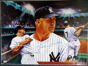 Mickey Mantle Autographed Signed 18x24 Lithograph Photo Yankees PSA/DNA AA01903