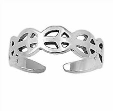 Silver Plain Peace Sign Toe Ring Sterling Silver 925 Best Deal Jewelry Gift 5mm