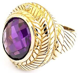 BIG & BOLD AMETHYST DOME GOLD BRASS BRONZE RING VINTAGE JEWELRY NEW