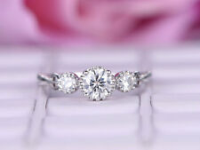 0.72 Ct Diamond Engagement Ring 14K Real White Gold Round Stylish Rings Size K L
