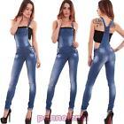Salopette donna jeans overall tuta intera skinny strappi elastica nuova 6317